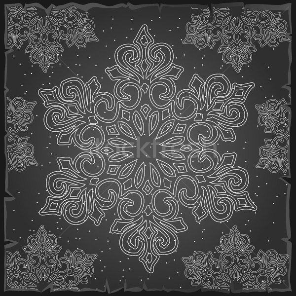 Sample Christmas wrapping paper gray color. The texture of the snowflakes. Sketch for greeting card, Stock photo © Lady-Luck
