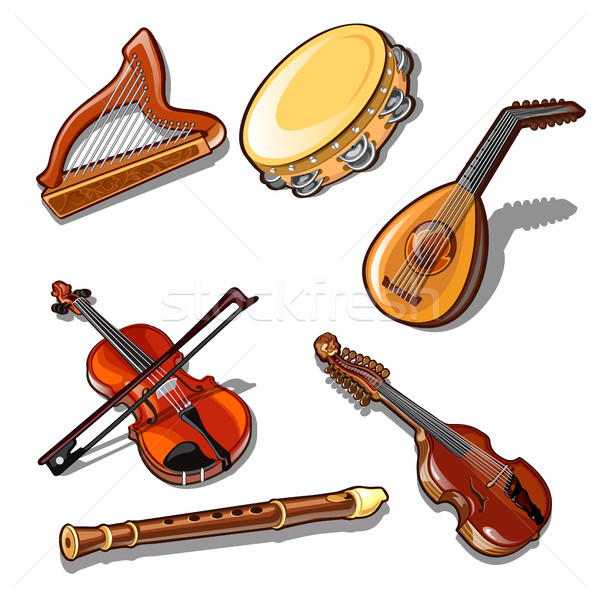 A set of classic strings, percussion and wind musical instruments isolated on white background. Vect Stock photo © Lady-Luck