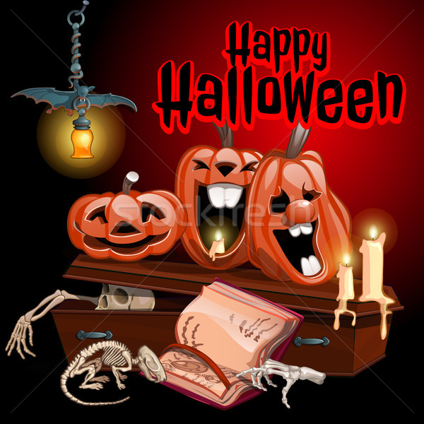 A poster on the theme of the Halloween holiday. Vector illustration. Stock photo © Lady-Luck