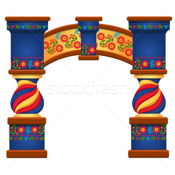Arch with ornament in Slavic style isolated on white background. Vector cartoon close-up illustratio Stock photo © Lady-Luck