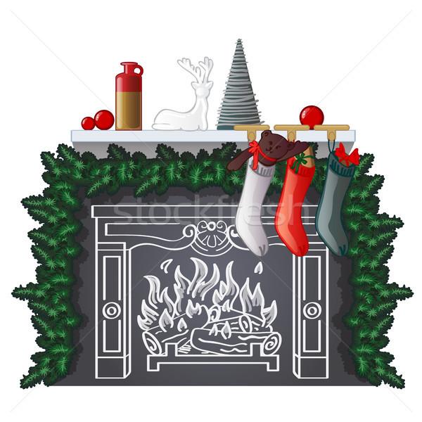 Stock fotó: Elegáns · polc · új · év · karácsony · ajándékok · rajzolt