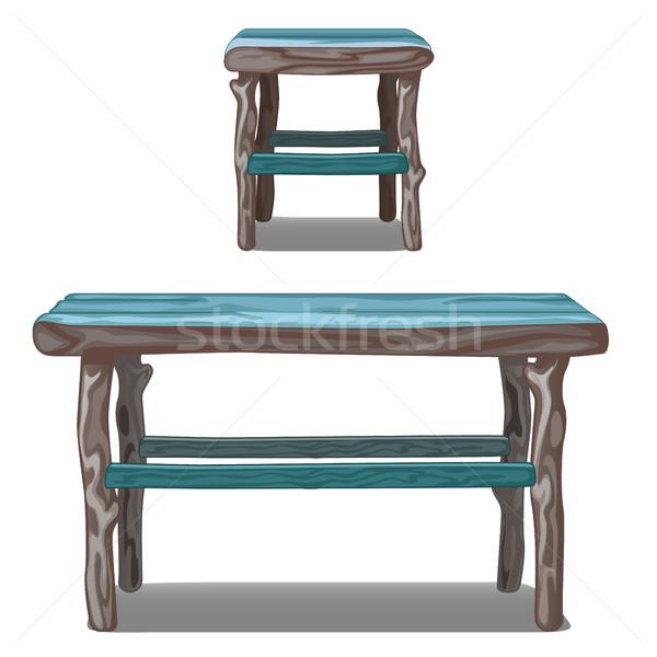 Szett fa asztal zsámoly türkiz izolált fehér Stock fotó © Lady-Luck