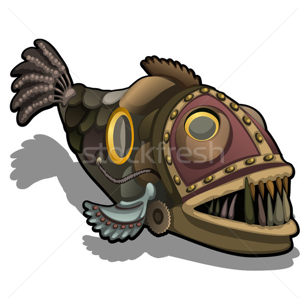 Fangtooth fish in the style of steam punk isolated on white background. Cartoon vector close-up illu Stock photo © Lady-Luck
