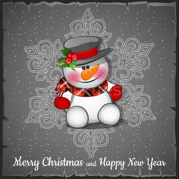 Sneeuwpop grijs sneeuwvlokken schets wenskaart feestelijk Stockfoto © Lady-Luck