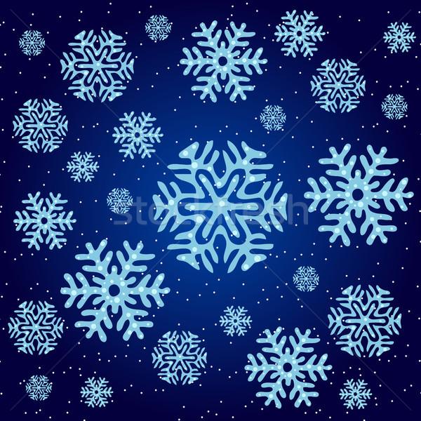Doku Noel kar taneleri mavi mutlu dizayn Stok fotoğraf © Lady-Luck