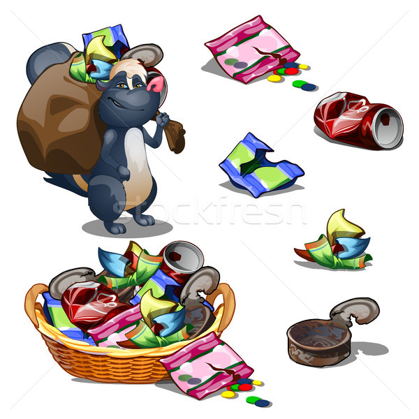 Happy skunk carries a bag of garbage. Vector illustration. Stock photo © Lady-Luck