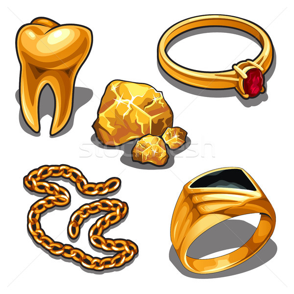 A set of jewelry and dentistry objects made of gold isolated on a white background. Vector illustrat Stock photo © Lady-Luck