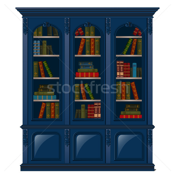 Vintage bookcase blue filled with books. Library furniture isolated on white background. Vector illu Stock photo © Lady-Luck