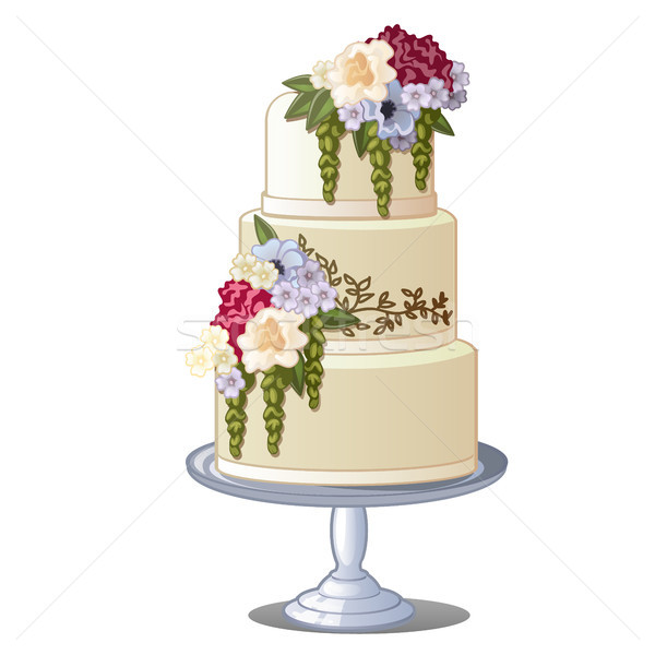 Festive layered biscuit cake covered with frosting and edible flowers. Sketch for greeting card, fes Stock photo © Lady-Luck
