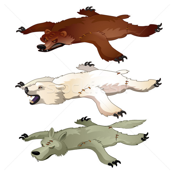 Set of bear and wolf animated skin isolated on white background. Vector illustration. Stock photo © Lady-Luck