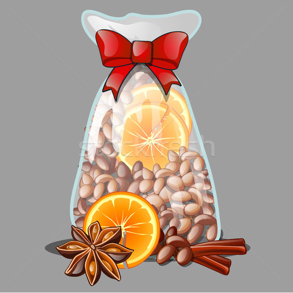 A Christmas gift in the form of a transparent plastic bag filled with all-natural spices, isolated o Stock photo © Lady-Luck