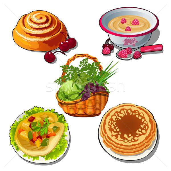 Set frische Lebensmittel isoliert weiß Vektor Karikatur Stock foto © Lady-Luck