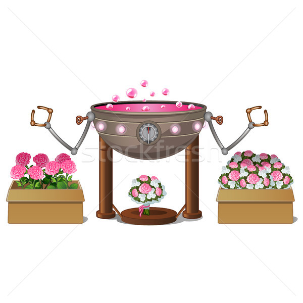 Fancy automated equipment for scenting flowers isolated on white background. Vector cartoon close-up Stock photo © Lady-Luck