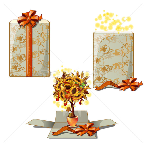 Gift box with a decorative tree. A gift for thanksgiving day isolated on white background. Vector ca Stock photo © Lady-Luck