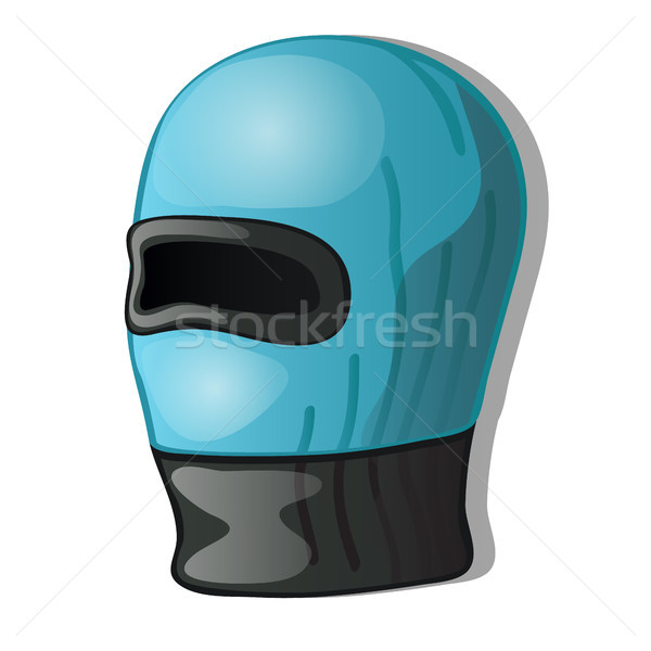Winter hat helmet blue color isolated on a white background. Vector cartoon close-up illustration. Stock photo © Lady-Luck