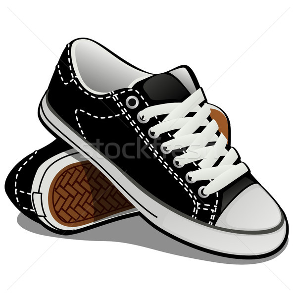 A pair of sneakers with white laces isolated on white background. Classic sports shoes. Vector illus Stock photo © Lady-Luck