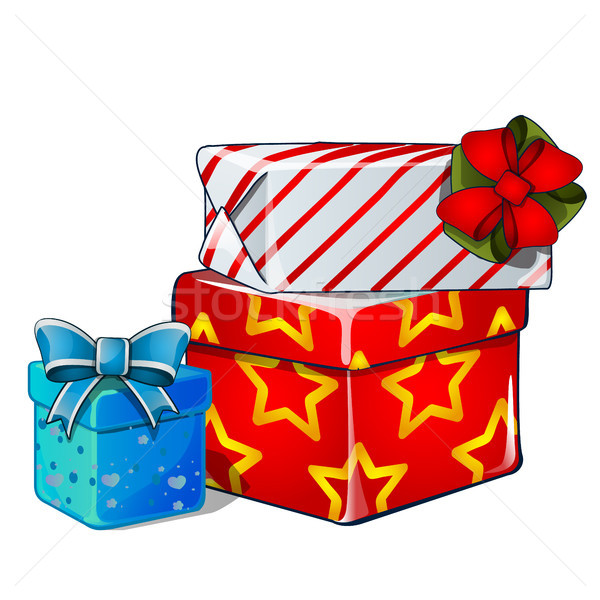 Stack of Gift boxes, blue and red ribbon bow, colorful wrapped paper, isolated on white. Sketch for  Stock photo © Lady-Luck