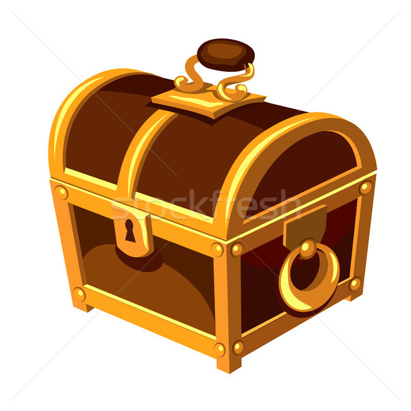 Klasszikus fából készült mellkas arany fogantyú zsanér Stock fotó © Lady-Luck