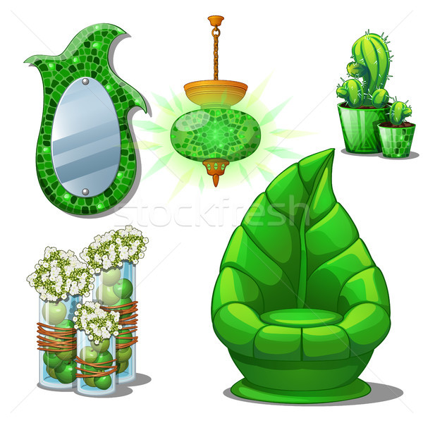 Furniture set green colour for the interior on the subject of plants isolated on white background. V Stock photo © Lady-Luck