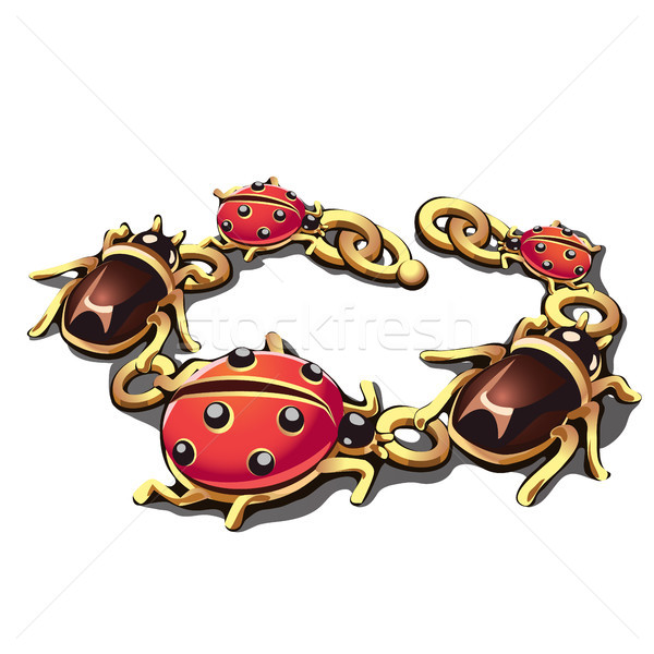 Golden bracelet in the form of beetles and ladybugs isolated on white background. Vector illustratio Stock photo © Lady-Luck