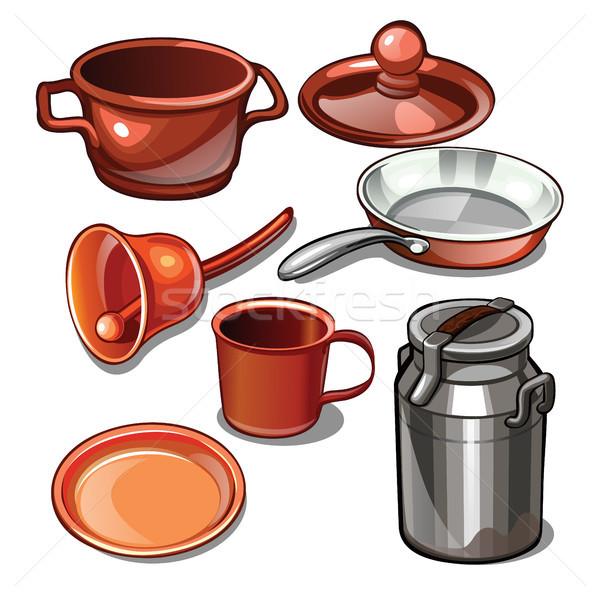посуда домашнее хозяйство металл изолированный белый Кубок Сток-фото © Lady-Luck