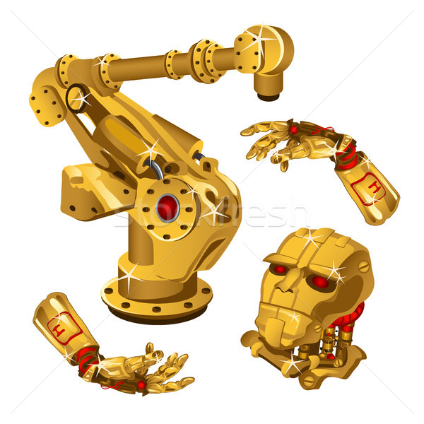 The set of components of the robot are made from the precious metal gold. High technology. Vector il Stock photo © Lady-Luck