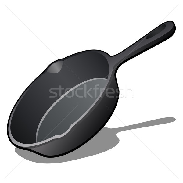 Cartoon cast iron skillet with non-stick coating isolated on white background. Vector illustration. Stock photo © Lady-Luck