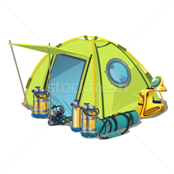 Yellow tent with equipment for diving isolated on white background. Vector cartoon close-up illustra Stock photo © Lady-Luck