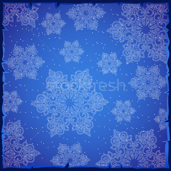 Sample Christmas colorful card or wrapping paper. The texture of the snowflakes. Bright winter backg Stock photo © Lady-Luck