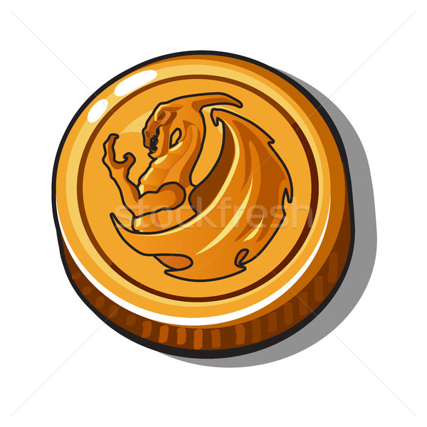 Gold coin with the image of a dragon on isolated white background. Vector illustration. Stock photo © Lady-Luck
