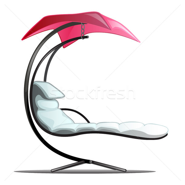 Luxury floating swing hammock isolated on white background. Vector cartoon close-up illustration. Stock photo © Lady-Luck