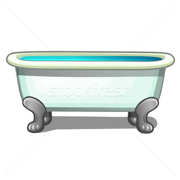Tub steel legs filled with water isolated on a white background. Vector cartoon close-up illustratio Stock photo © Lady-Luck