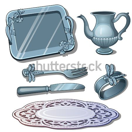 The set of items and stylish decorations of ice isolated on a white background. Vector illustration. Stock photo © Lady-Luck