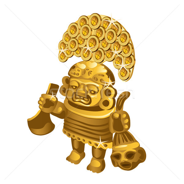 Inca indian ritual figurine from gold, a symbol of sacrifice is isolated on a white background. Vect Stock photo © Lady-Luck