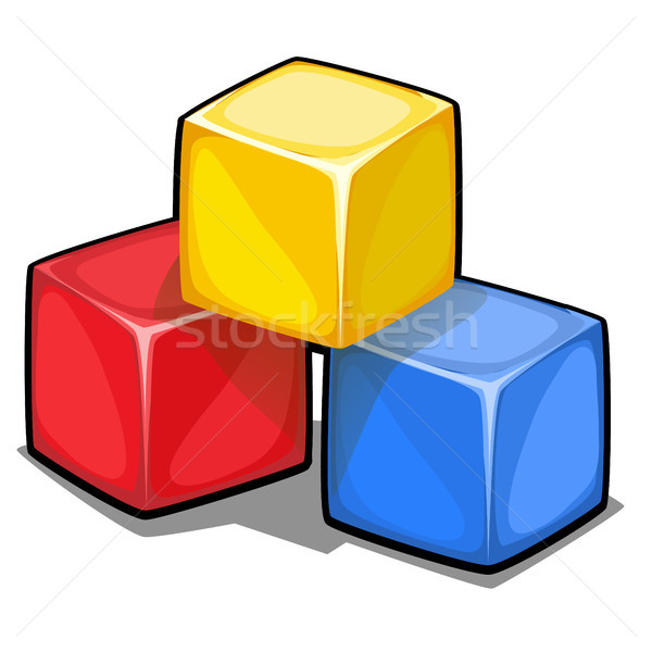 A stack of three plastic colored cubes isolated on white background. Vector cartoon close-up illustr Stock photo © Lady-Luck