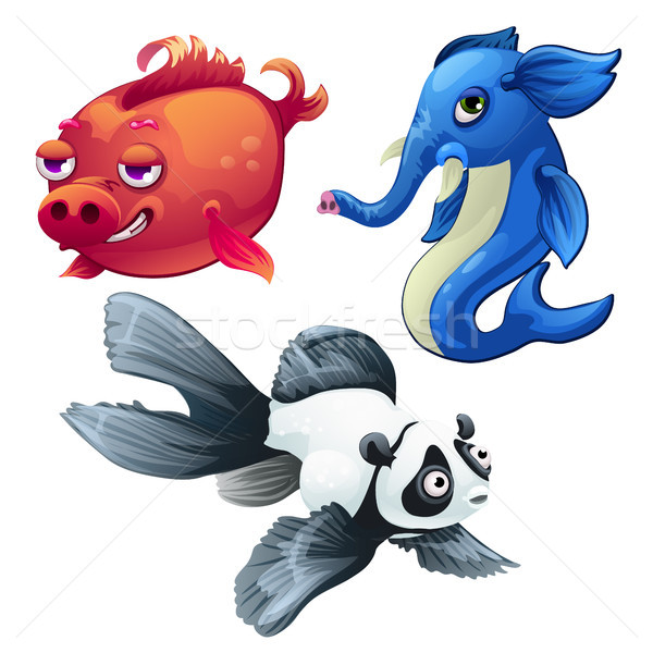 Cartoon fish hybrids isolated on white background. Interbreeding, the modern scientific technology.  Stock photo © Lady-Luck