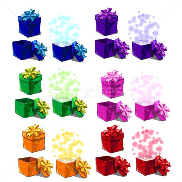 Grand coffrets cadeaux isolé blanche vecteur Photo stock © Lady-Luck
