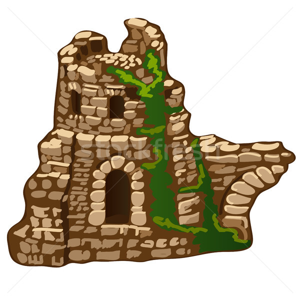 The abandoned ruins of an old stone house or fortress isolated on white background. The remains of m Stock photo © Lady-Luck