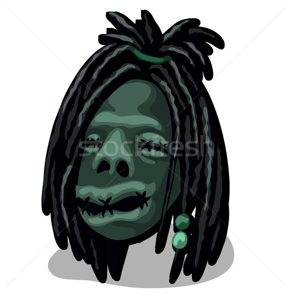 A shrunken head isolated on white background. Talisman tribe of Indians. Vector illustration. Stock photo © Lady-Luck