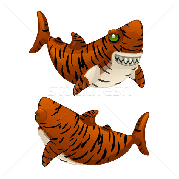 Cartoon tiger shark bares his sharp teeth isolated on white background. Vector illustration. Stock photo © Lady-Luck