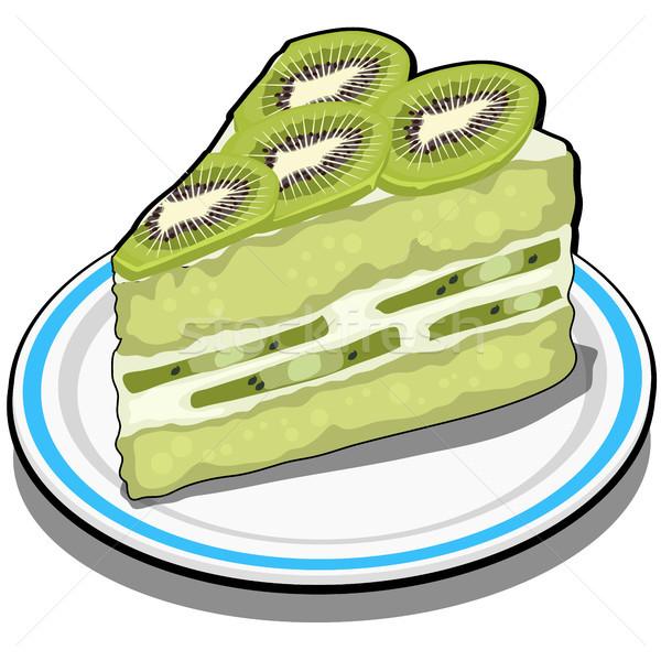 Szelet finom gyümölcs kiwi torta desszert Stock fotó © Lady-Luck