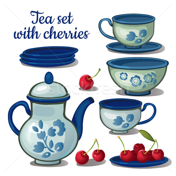 Tea set and ripe cherry isolated on a white background. Vector cartoon close-up illustration. Stock photo © Lady-Luck