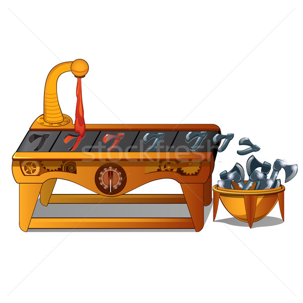 Fancy automated equipment for the production of metal axes isolated on white background. Vector cart Stock photo © Lady-Luck