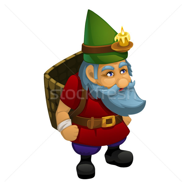 The old dwarf in a green cap with a burning candle is carrying a basket of fodder, isolated on white Stock photo © Lady-Luck