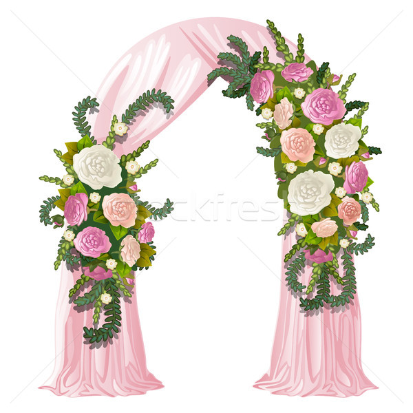 Wedding arch decorated with pink curtain and flower buds. Vector illustration. Stock photo © Lady-Luck