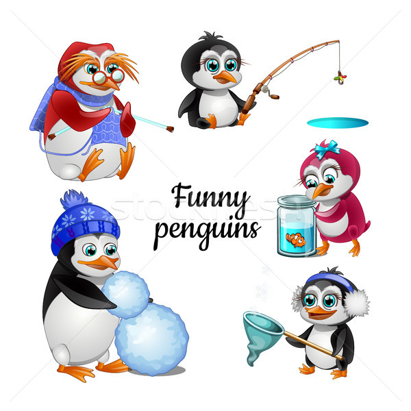 Set of funny animated penguins isolated on white background. Hobby animals. Stock photo © Lady-Luck