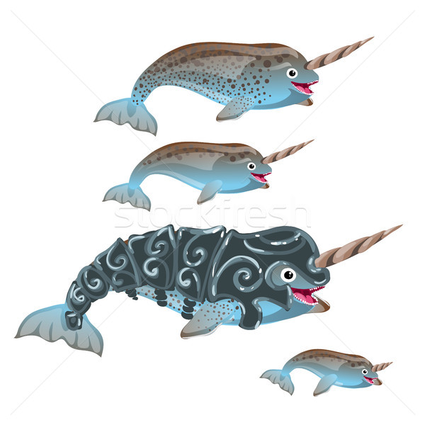 Set of fantasy animals blue color isolated on white background. Narwhal or narwhale, Monodon monocer Stock photo © Lady-Luck