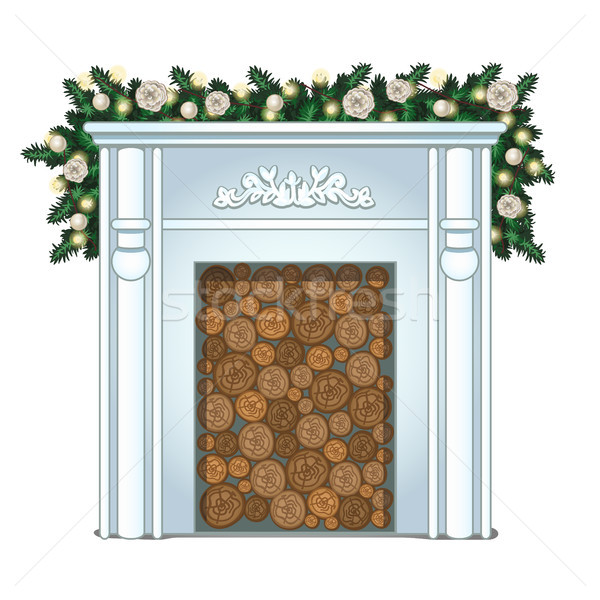 A stack of wood in the false fireplace without fire isolated on white background. Ideas festive inte Stock photo © Lady-Luck