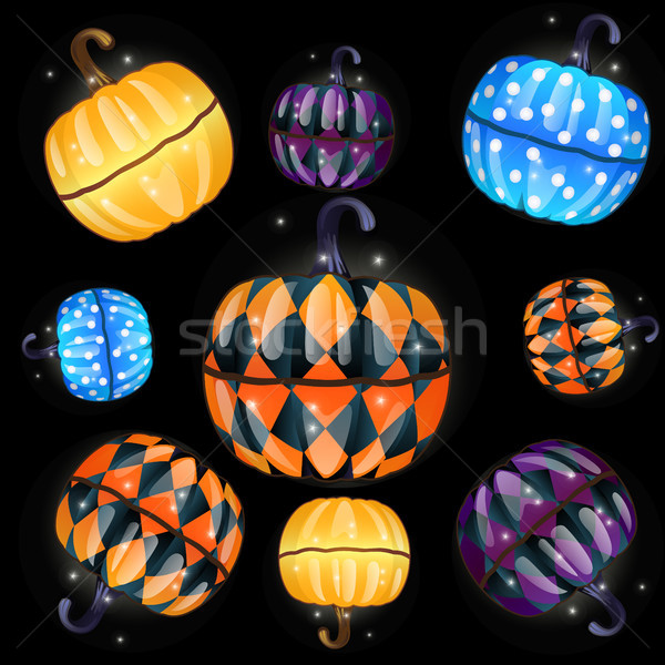 Set of colorful boxes with a fun texture made in the shape of pumpkins isolated on a black backgroun Stock photo © Lady-Luck