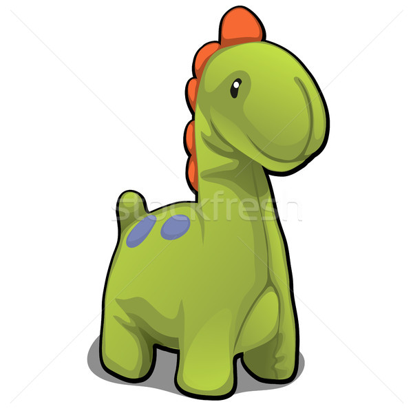 Plush toy in the form of green dinosaur isolated on white background. Vector cartoon close-up illust Stock photo © Lady-Luck